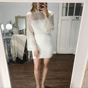 Lulus x Sugarlips White Long Sleeve Lace Dress S